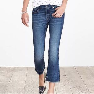 Banana Republic Cropped Flare Raw Hem Jeans